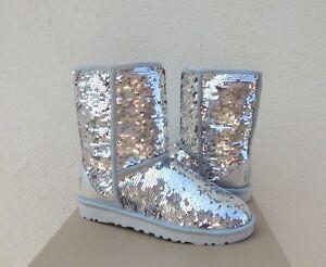 ugg classic short silver pink sparkle sequin sheepwool boots us 7 rh ebay com