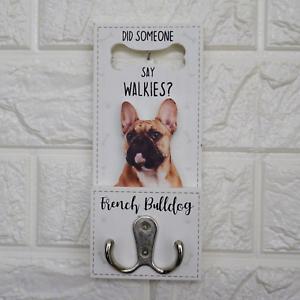French Bulldog Dog Lead Hook Twin Hooks Wall Mounted Walkies Puppy Ass Breeds