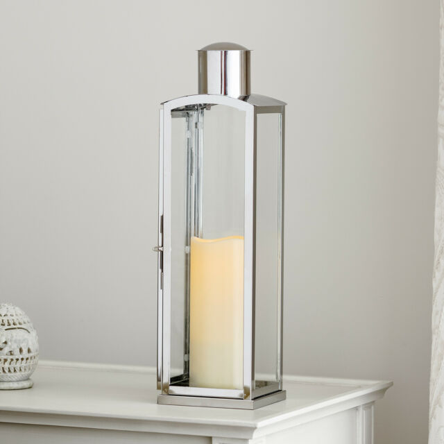 Stainless Steel Indoor Battery Operated LED Flameless Candle Lantern