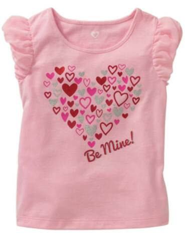 Toddler Girls Pink Glitter Be Mine Valentines Day T-Shirt Tee Shirt