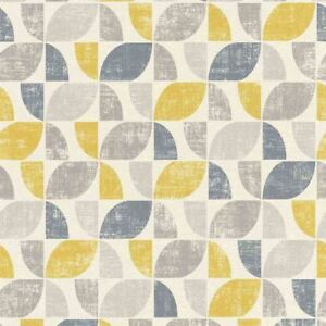 Graphic-Geometric-Vintage-White-Yellow-Blue-Wallpaper-Paste-Wall-Textured-Vinyl