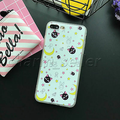Cute Cartoon Sailor Moon Soft Bumper & PC Hard Case Cover For iPhone5S 6S 7 Plus