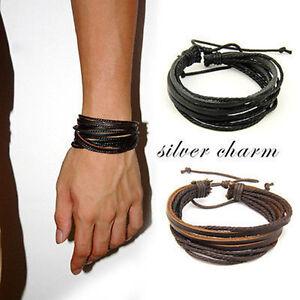 Leder-Wrap-Geflochtene-Armband-Manschette-Punk-Maenner-Frauen-Armband-Armreif-xj