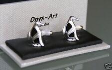 Novelty Mens Cufflinks - Penguin Design + Crystal Eye *New*