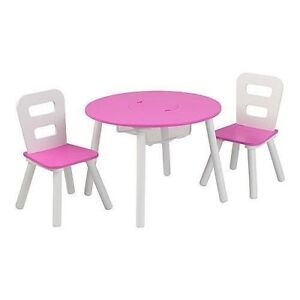 Kidkraft Round Table and 2 Chair Set White/pink  sc 1 st  eBay & Kidkraft Round Table and 2 Chair Set White/pink | eBay