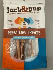 "Premium Grade 6"" Junior Bully Sticks by Jack&Pup All Natural Beef Bladder Stick"