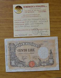 BANCONOTA-LIRE-100-GRANDE-B-FASCIO-15-3-1943-conservazione-BB-SUBALPINA