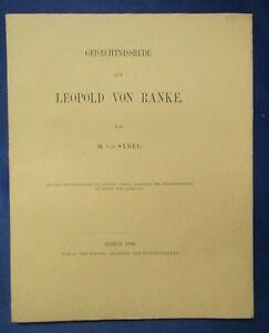 Sybel Gedaechtnissrede auf Leopold von Ranke 1886 Wissen Studium selten js
