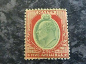 MALTA-POSTAGE-STAMP-SG63-5-GREEN-amp-RED-ON-YELLOW-LIGHTLY-MOUNTED-MINT