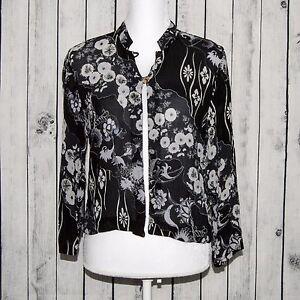 CITRON-of-Santa-Monica-Women-039-s-100-Silk-2-button-Black-Floral-Size-Petite-M
