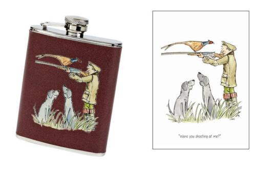 """Were you shooting at me"" pheasant game day shooting Greeting Card & Hip Flask"