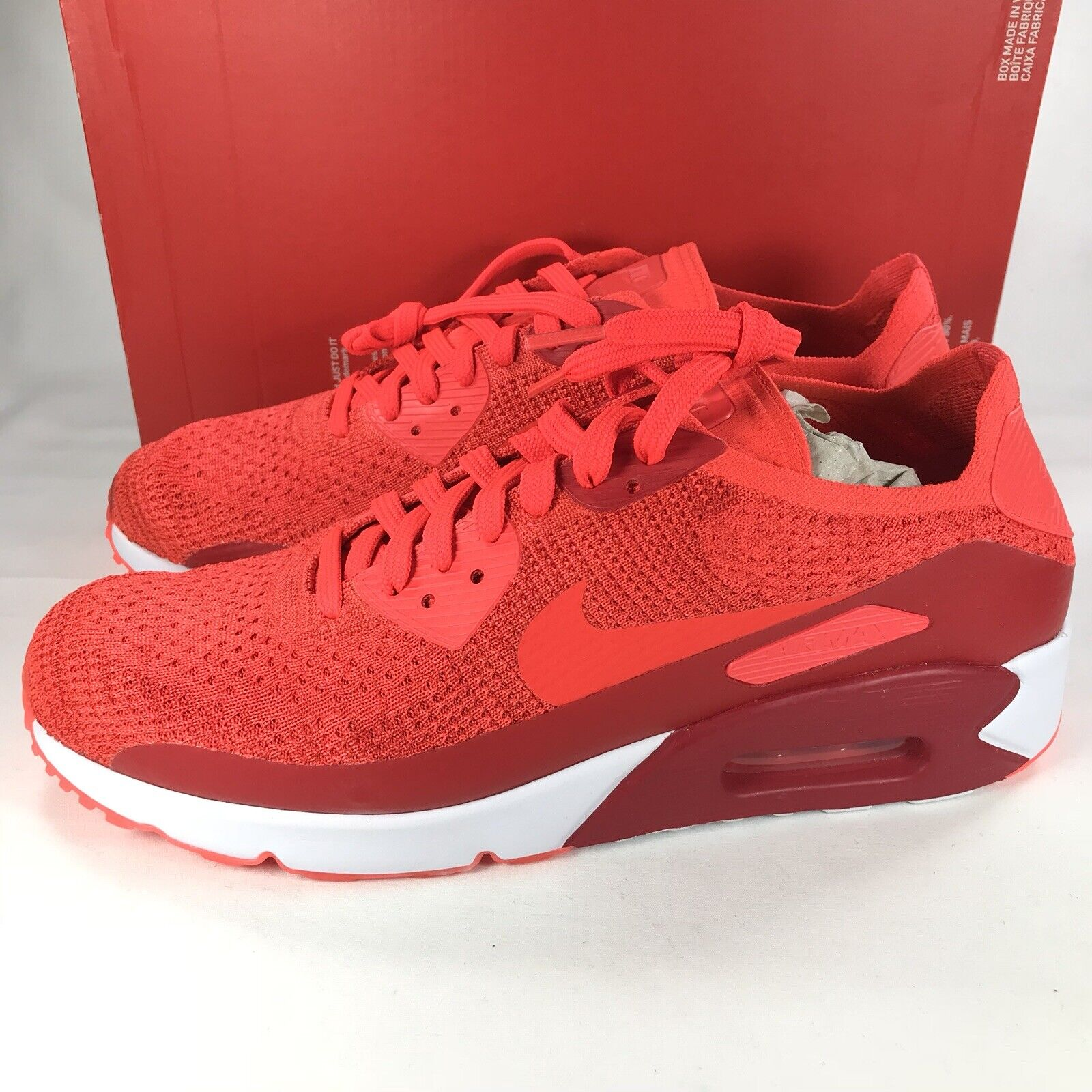 Nike Air Max 90 Ultra 2.0 Flyknit Red Running shoes 875943-600 Men's Size 11.5