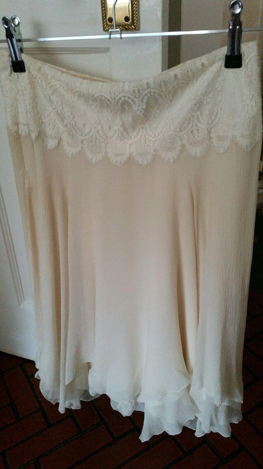 Ralph lauren skirt 100% silk formal size 8 lace detail cream knee length floaty