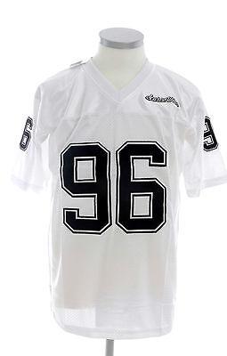 RICAMO Uomo Bianco Maglia NFL FOOTBALL AMERICANO scarse 96 maglia di seta t-shirt