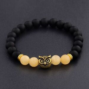 Men-Women-Natural-Round-Gemstone-Bead-Gold-Owl-Head-Handmade-Beads-Bracelets