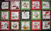 Loralie Harris Kitty Christmas Cat Kitten Quilt Block Cotton Fabric 990-b Panel