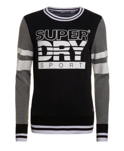New Womens Superdry Factory Second Sport Colour Block Crew Jumper Black//White//Da