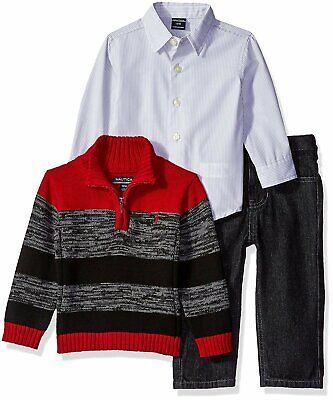 Nautica Newborn Boys/' 3 Piece Sweater set and Plaid Pants MSRP $54.50