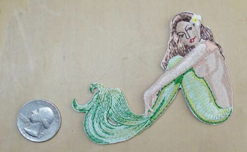 """/"""" MERMAID /"""" IRON-ON SEW-ON EMBROIDERED PATCH BIKER DECOR 3 3//4/""""X 2 3//4/"""""""