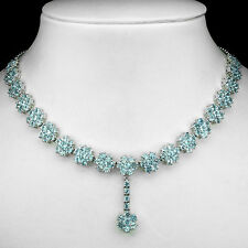 Sterling Silver 925 Genuine Natural Sky Blue Topaz Flower Necklace 18.5 Inch