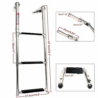 Telescoping Hot Selling Stainless Steel 3-Step Slide Mount Boat Marine Ladder
