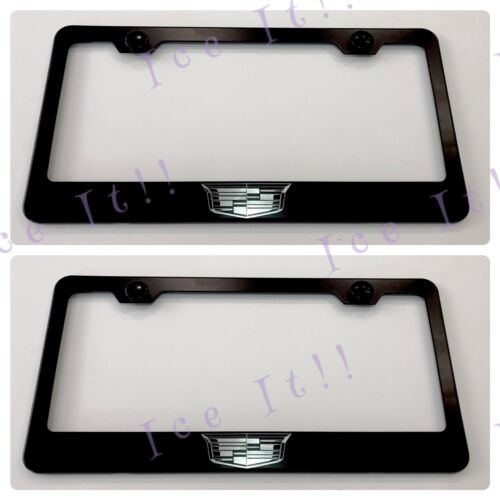 2X Laser Engraved Etched Cadillac Stainless Steel Black License Plate Frame