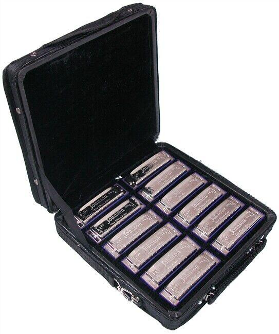 Johnson Blaus King Mundharmonika Set Enthält Alle 12 Keys und Koffer