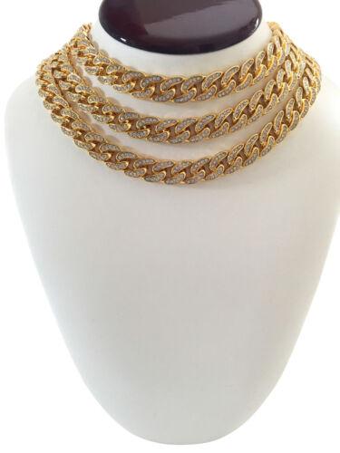 "14K Gold GP Migos YRN Cuban Iced CZ Clasp Choker Chain Necklace 16/"" 18/"" 20/"" 22/"""