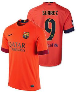 huge selection of 33f34 e523b Details about NIKE LUIS SUAREZ FC BARCELONA AWAY JERSEY 2014/15.