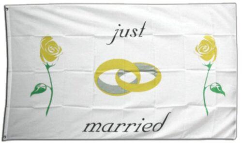 Just Married Rosen Hissflagge  Fahnen Flaggen 150x250cm