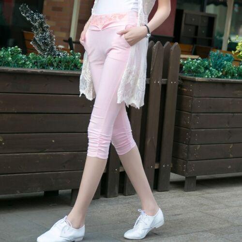 Summer Women/'s 3//4 Length Pocket Leggings Short Pants Stretch 5 Colors