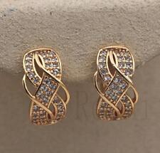 18K Gold Filled - Luxury Earrings Swirl Ear Stud Topaz Twisted Multilayer Lady