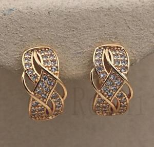 18K-Gold-Filled-Luxury-Earrings-Swirl-Ear-Stud-Topaz-Twisted-Multilayer-Lady