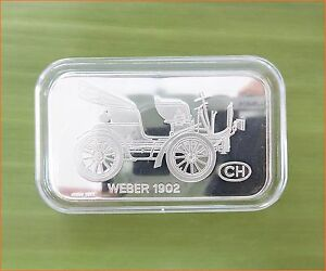 RARE-1-oz-999-Switzerland-Silver-Bar-034-WEBER-1902-ANTIQUE-CAR-COLLECTION-034-C76