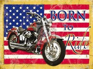 THRILLS SPILLS Born to Ride Vélos Rétro Style Vintage Métal Plaque Murale Signe