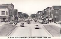 BROOKFIELD MISSOURI MAIN STREET from UNDERPASS circa 1940s RPPC Photo Postcard