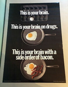Your Brain On Drugs Vintage Poster Frying Pan Egg Side