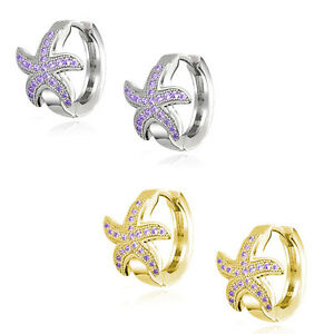 Image Is Loading Nautical Starfish Huggie Hoop Earrings Micro Amethyst 14k