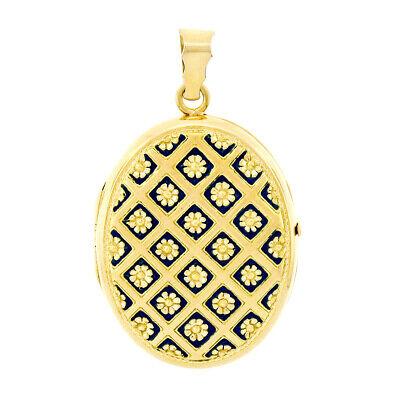 SchöN Vintage 18k Gelbgold Blau Emaille Texturiert Blumenmuster Großes Oval