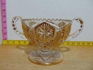 """Adroit Imperial Glass Star Et Fichier Bordure Dorée Deux Traités Bol 4 1/4"""" H X 5 1/2"""" C-afficher Le Titre D'origine"""