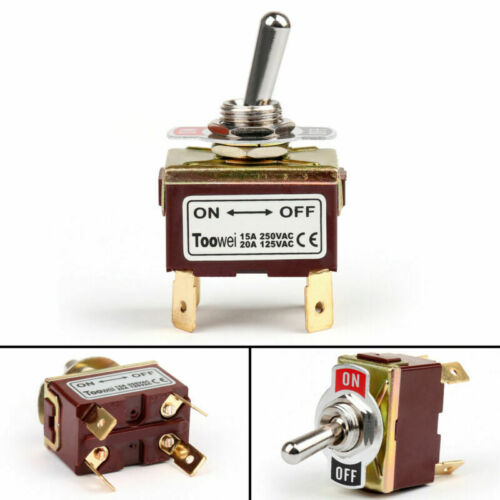 4Pcs Toowei 2 Terminal 4Pin ON-OFF 15A 250V Toggle Switch Boot DPST Grade