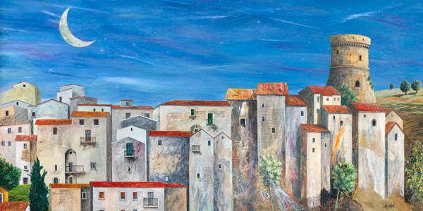 Donato Larotonda  Villagio silenzioso Keilrahmen-Bild Leinwand Dorf Mond Toskana