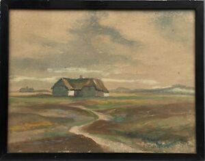 Christian-Thornild-1884-1951-Haeuser-auf-Fan-Daenemark-Juetland-39-5-x-50-cm