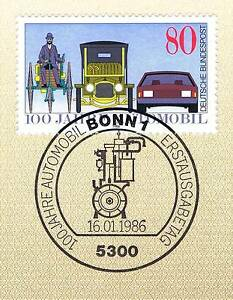 BRD-1986-Automobil-100-Jahre-Nr-1268-mit-Bonner-Ersttagssonderstempel-1A-1711