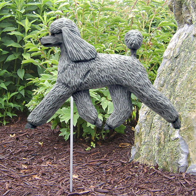 Poodle Outdoor Garden Dog Sign Hand Painted Figure Grey
