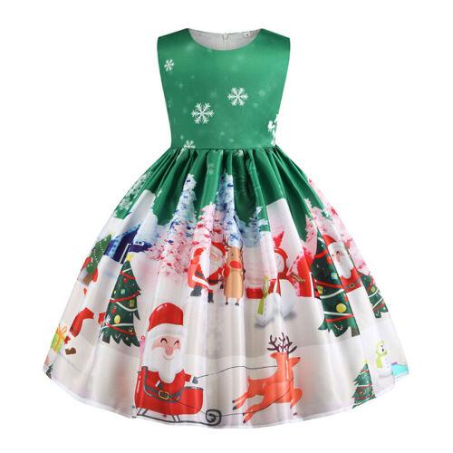 Kinder Mädchen Kleid Weihnachtskleid Xmas Weihnachtsmann Prinzessin Partykleid
