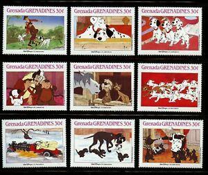 Disney-101-Dalmatians-mnh-9-stamps-1988-Grenada-Grenadines-988a-i-Cruella-Pongo