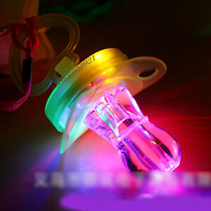 Light-Up-Pacifier-LED-Party-Glow-in-the-Dark-Whistle-Flashing-Lanyard-Blinking