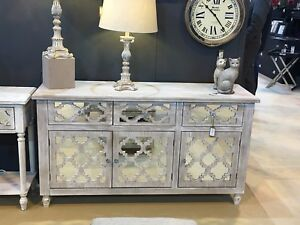 Large Hampton 3 Door 3 Drawer Cabinet Sideboard Washed Ash Wood And