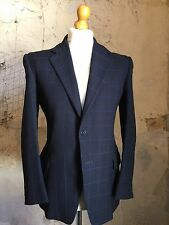 Vintage Bespoke Blue Checked  1960's 3 Three Piece Suit Size 36 38
